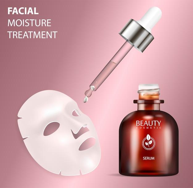 Arkusz maski twarzy z butelką surowicy do leczenia.
