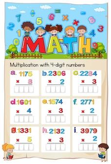 Arkusz matematyczny numer mnożenia rozdział