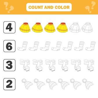 Arkusz matematyki dla dzieci. policz i pokoloruj aktywność edukacyjną dzieci. czarno-biały ilustracja kreskówka edukacyjnej gry liczącej dla dzieci z ubraniami