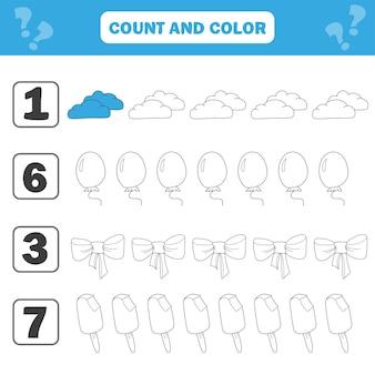 Arkusz matematyki dla dzieci. policz i pokoloruj edukacyjną aktywność dzieci za pomocą chmurki, lodów, kokardki, balonu