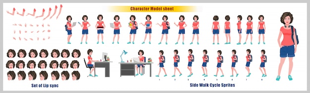 Arkusz modelowy projektu postaci uczennicy z animacją cyklu spacerowego. projekt postaci dziewczyny. widok z przodu, z boku, z tyłu i animacja wyjaśniająca. zestaw znaków z różnymi widokami i synchronizacją ust