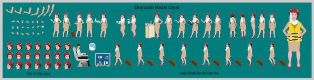Arkusz modelu arabskiej stewardessy z projektem postaci z animacją cyklu spacerowego. projekt postaci dziewczyny. widok z przodu, z boku, z tyłu i animacja wyjaśniająca. zestaw znaków z różnymi widokami i synchronizacją ust