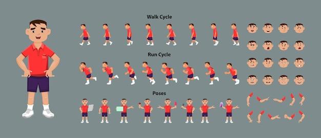 Arkusz modelu postaci chłopca z arkuszem animacji cyklu spaceru i cyklu biegu. postać chłopca o różnych pozach