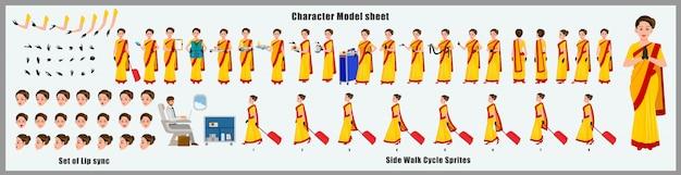 Arkusz modelu postaci hostessy lotnictwa indian air z animacją cyklu spacerowego. projekt postaci dziewczyny. widok z przodu, z boku, z tyłu i animacja wyjaśniająca. zestaw znaków z różnymi widokami i synchronizacją ust
