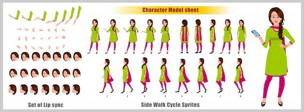Arkusz modelu postaci indian girl z animacją cyklu spacerowego. projekt postaci dziewczyny. widok z przodu, z boku, z tyłu i animacja wyjaśniająca. zestaw znaków z różnymi widokami i synchronizacją ust