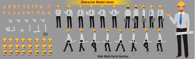 Arkusz modelu postaci inżyniera z sekwencją animacji cyklu spacerowego