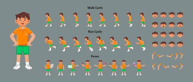 Arkusz modelu postaci słodkiego chłopca z sekwencją animacji cyklu spaceru i cyklu biegu. postać chłopca o różnych pozach