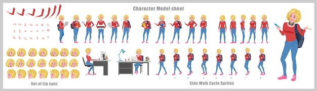 Arkusz modelu postaci ucznia o blond włosach z animacją cyklu spacerowego. projekt postaci dziewczyny. widok z przodu, z boku, z tyłu i animacja wyjaśniająca. zestaw znaków z synchronizacją ust