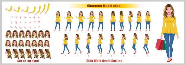 Arkusz modelu postaci z zakupów o blond włosach z animacją cyklu spacerowego. projekt postaci dziewczyny. widok z przodu, z boku, z tyłu i animacja wyjaśniająca. zestaw znaków z synchronizacją ust