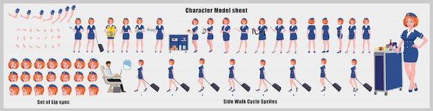 Arkusz modelu projektu postaci stewardessy z animacją cyklu spacerowego. projekt postaci dziewczyny. widok z przodu, z boku, z tyłu i animacja wyjaśniająca. zestaw znaków z różnymi widokami i synchronizacją ust