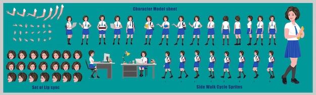 Arkusz modelu projektu postaci ucznia liceum z animacją cyklu spacerowego. projekt postaci dziewczyny. widok z przodu, z boku, z tyłu i animacja wyjaśniająca. zestaw znaków i synchronizacja ust