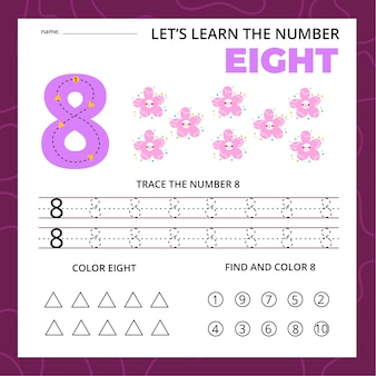 Arkusz numer osiem dla dzieci