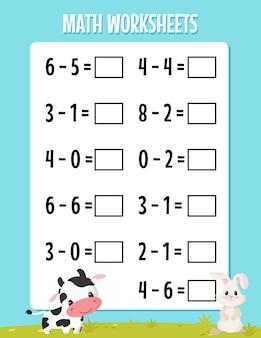 Arkusz odejmowania matematyki dla przedszkola