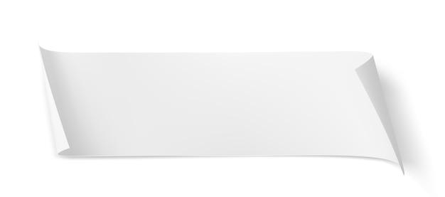 Arkusz papieru biały wektor z zakrzywionymi rogami i miękkim cieniem na białym tle