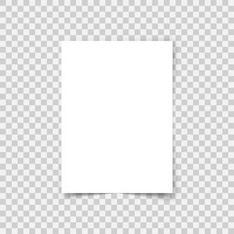 Arkusz papieru wektor formatu a4 z cieniami. biała, realistyczna, pusta strona papieru. makieta szablonu projektu ulotki lub transparentu na przezroczystym tle.