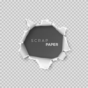 Arkusz papieru z otworem w środku. szablon realistyczna strona makulatury z szorstką krawędzią na baner. ilustracja na przezroczystym tle