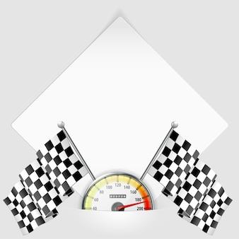 Arkusz papieru z prędkościomierzem i flagami