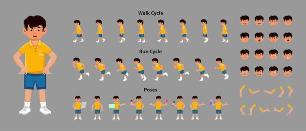 Arkusz postaci chłopca z sekwencją animacji cyklu spaceru i cyklu biegu. postać chłopca o różnych pozach