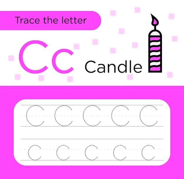 Arkusz przedszkola z literą śledzenia c dla dzieci