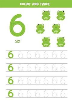 Arkusz roboczy do nauki liczb z uroczą żyrafą. numer sześć.