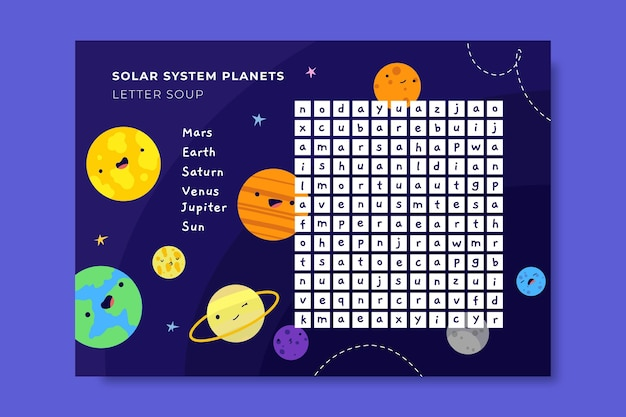 Arkusz roboczy kreatywnych kolorowych listów zupy galaktyki