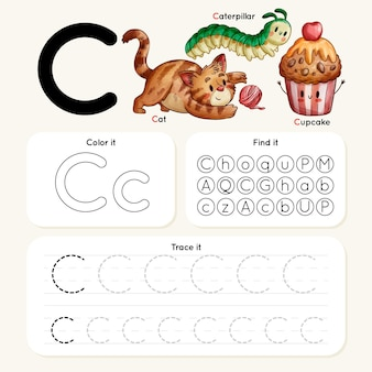 Arkusz roboczy litera c ze zwierzętami i babeczką