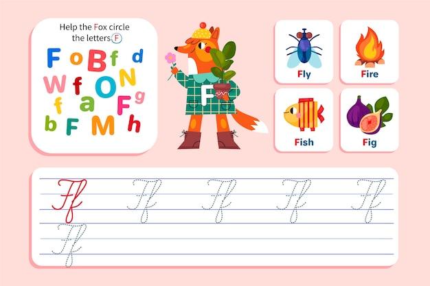 Arkusz roboczy litera f z lisem