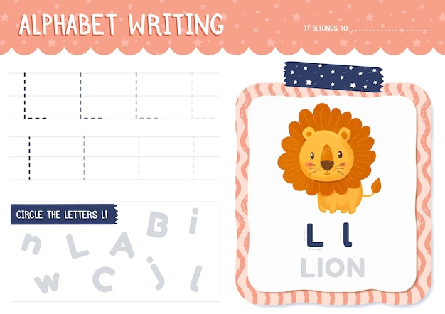 Arkusz roboczy litera l z lwem