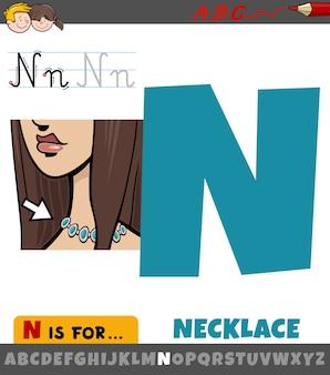 Arkusz roboczy litera n z obiektem naszyjnik