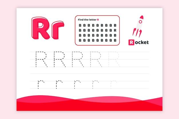 Arkusz roboczy litera r z rakietą
