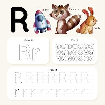 Arkusz roboczy litera r ze zwierzętami i rakietą