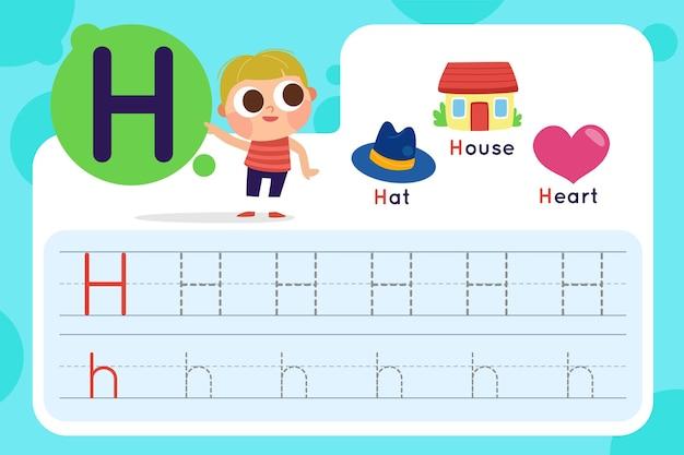 Arkusz roboczy litery h z kapeluszem i domem