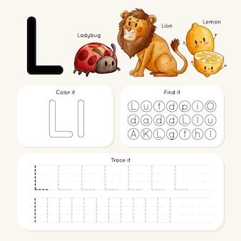 Arkusz roboczy litery l ze zwierzętami
