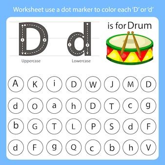 Arkusz roboczy używa znacznika kropki do kolorowania każdego d