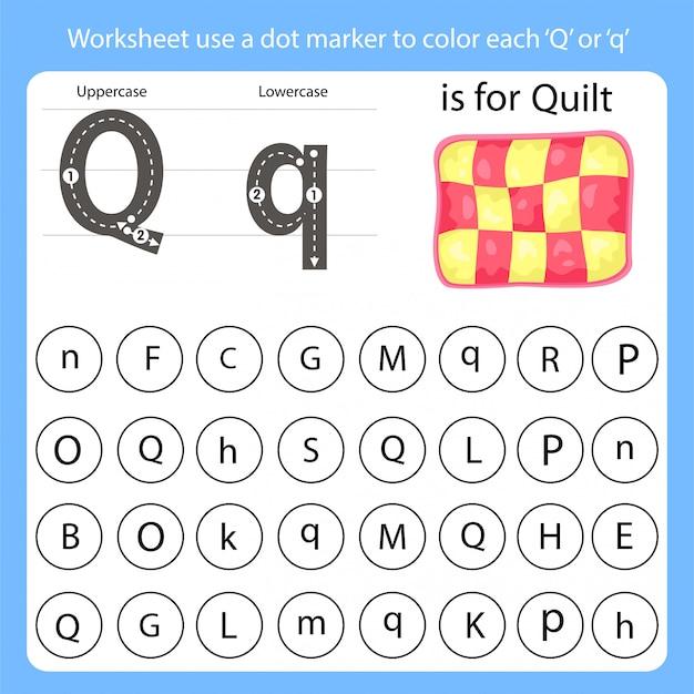 Arkusz roboczy używa znacznika kropki do kolorowania każdego q