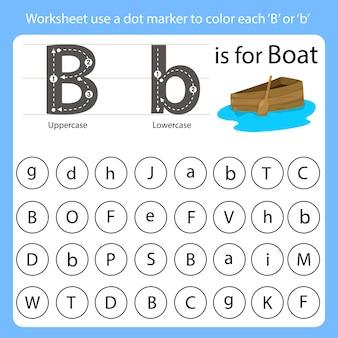 Arkusz roboczy używa znacznika kropki do pokolorowania każdego b