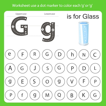 Arkusz roboczy używa znacznika kropki do pokolorowania każdego g