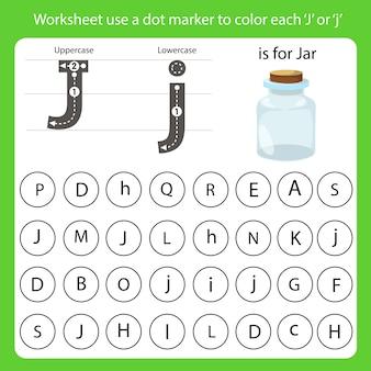Arkusz roboczy używa znacznika kropki do pokolorowania każdego j