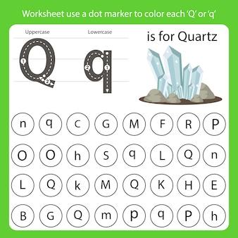 Arkusz roboczy używa znacznika kropki do pokolorowania każdego q