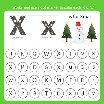 Arkusz roboczy używa znacznika kropki do pokolorowania każdego x
