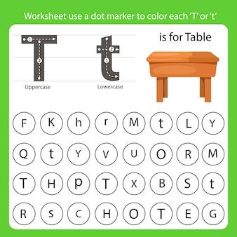 Arkusz roboczy używa znacznika kropki do pokolorowania każdej litery t.