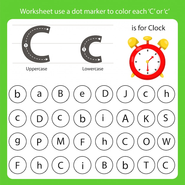 Arkusz roboczy używa znacznika kropkowego do pokolorowania każdego c
