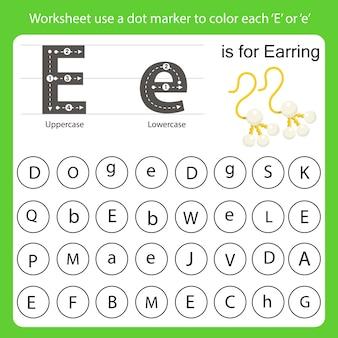 Arkusz roboczy używa znacznika kropkowego do pokolorowania każdego e