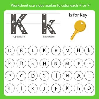 Arkusz roboczy używa znacznika punktowego do pokolorowania każdego k