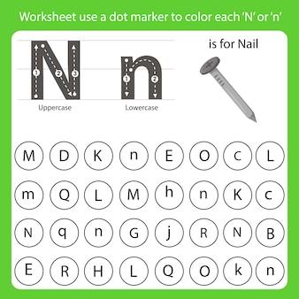 Arkusz roboczy używa znacznika punktowego do pokolorowania każdego n