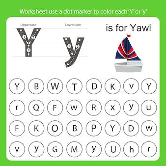 Arkusz roboczy używa znacznika punktowego do pokolorowania każdego y