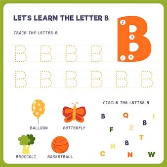 Arkusz roboczy z literą b dla dzieci