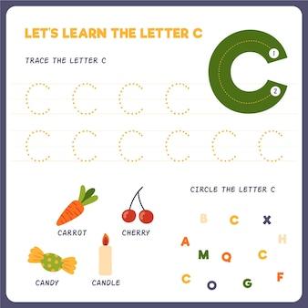 Arkusz roboczy z literą c dla dzieci