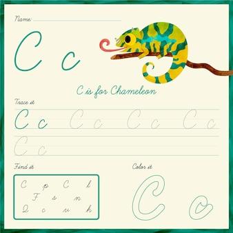 Arkusz roboczy z literą c z kameleonem