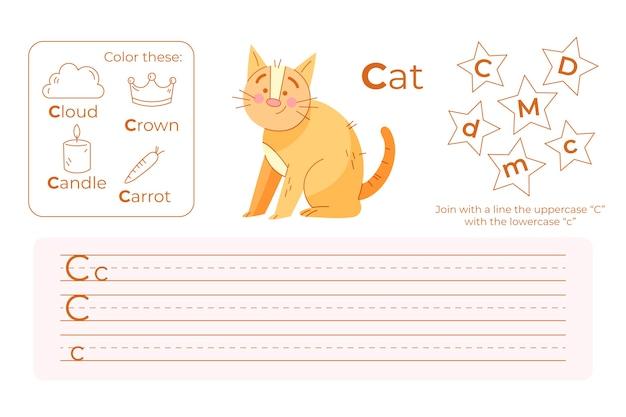Arkusz roboczy z literą c z kotem